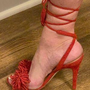 Red suede fringed heels